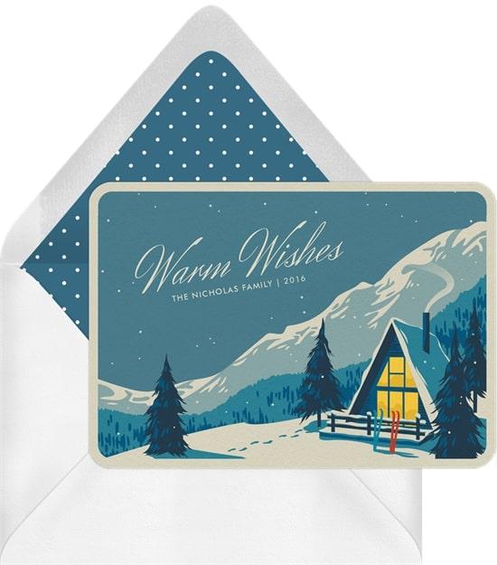 Holiday greetings: Cozy Ski Chalet Greetings Card