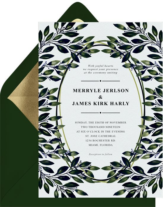 fall wedding ideas: DIY foliage and floral crowns invitation from Greenvelope