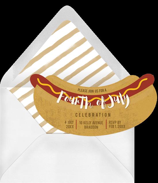 4th of July party ideas: DIY hotdog stall invitation from Greenvelope