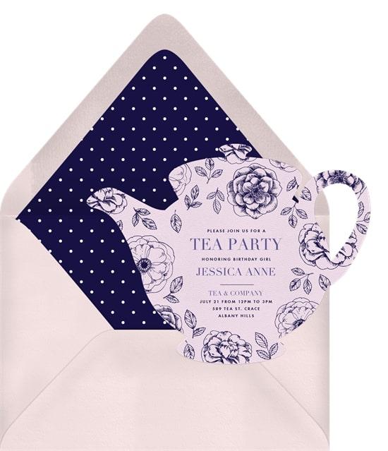 2nd birthday party ideas: Dainty Teapot Invitation
