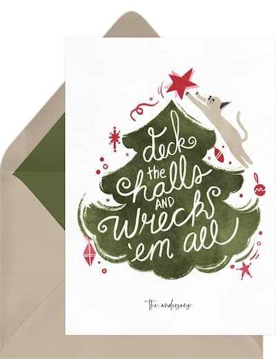 Funny Christmas cards: Deck-and-Wreck-Card