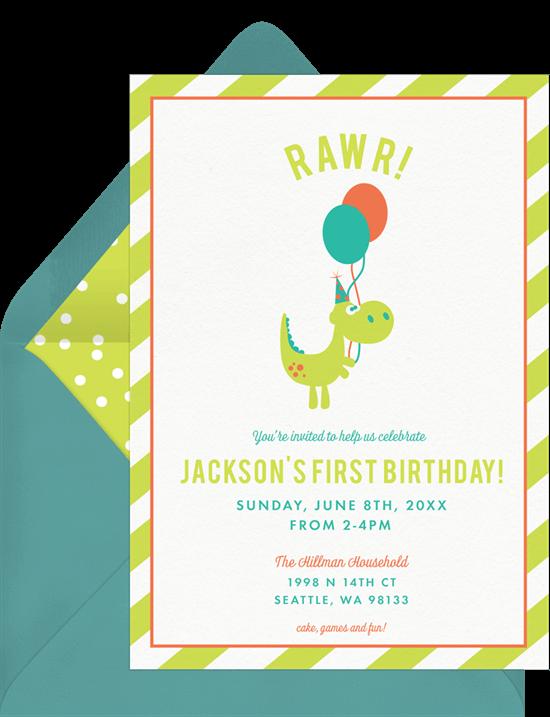 Dinosaur birthday invitations: Dino Rawr Invitation