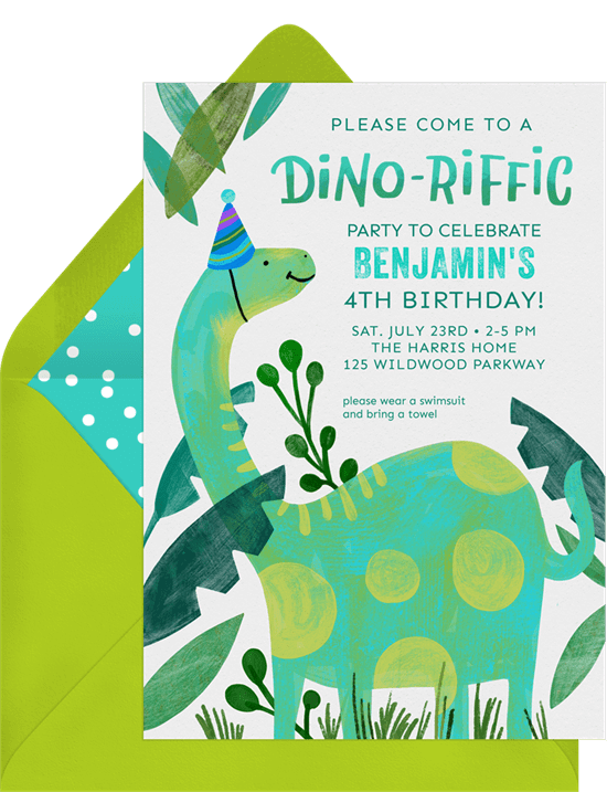 Dinosaur birthday invitations: Dino-Riffic Invitation