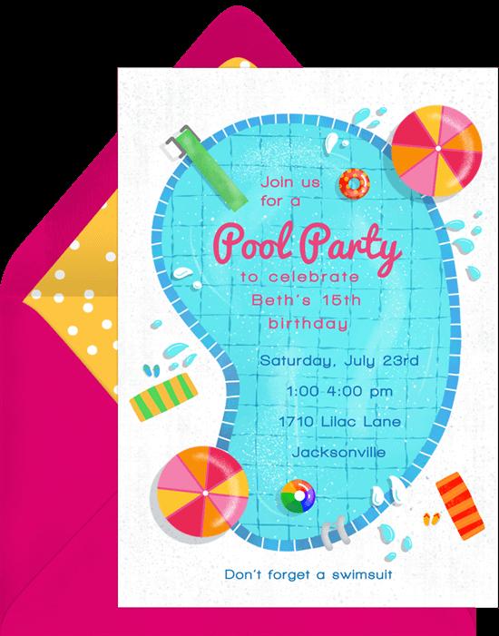 Birthday invitations templates: Dive In Invitation
