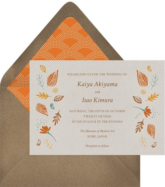 Rustic wedding ideas: Fall Foliage Invitation