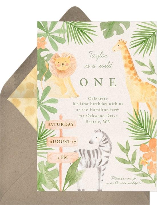 Safari theme party: First Safari Invitation