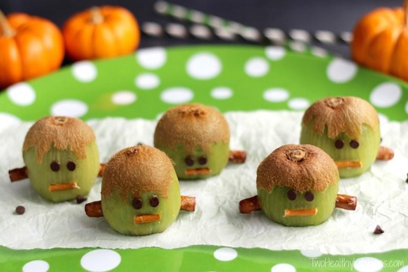Halloween party food: Frankenstein kiwis