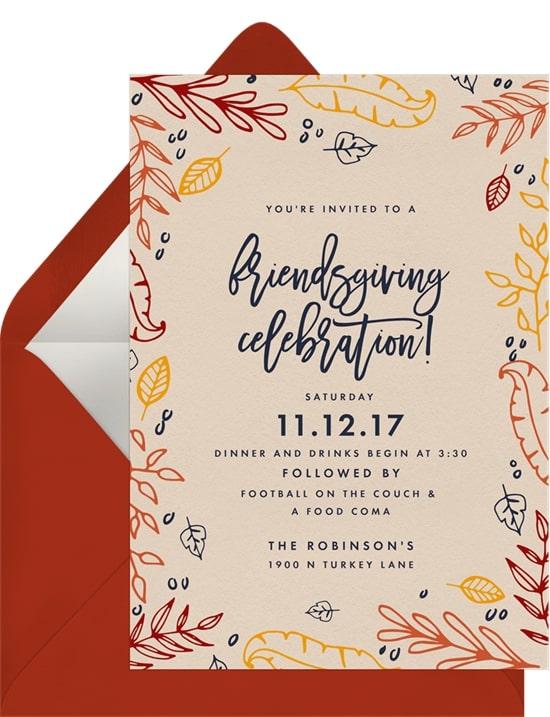 Friendsgiving Celebration Invitation