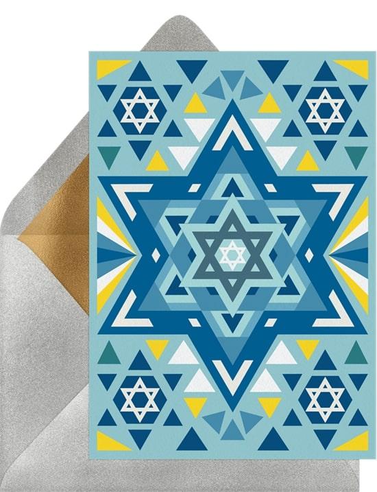 Holiday greetings: Geometric Star of David Card