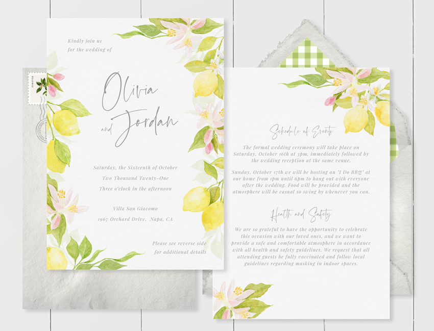 double-sided wedding invitation with painted yellow lemons that includes an example of covid vaccination requirement wording