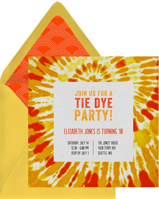 college party themes: Groovy Tie-Dye Invitation by Greenvelope