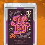 A digital Halloween party invitation displayed on a tablet