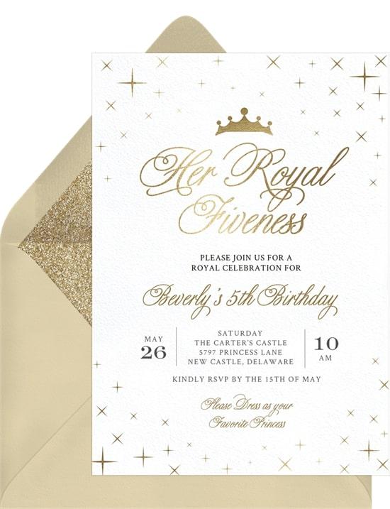 Princess party ideas: Her Royal Fiveness Invitation