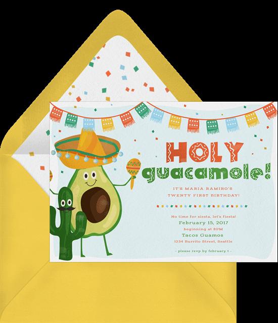Taco party ideas: Holy Guacamole! Invitation