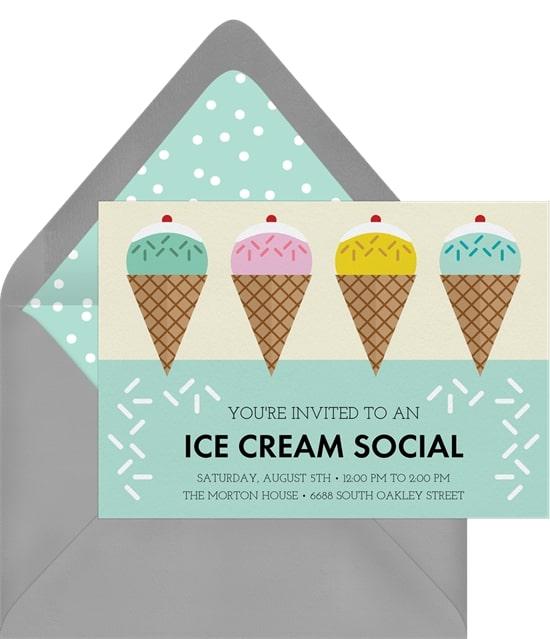 Ice cream party: Ice Cream Social Invitation