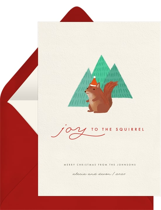 Holiday greetings: Joy To The Squirrel Card