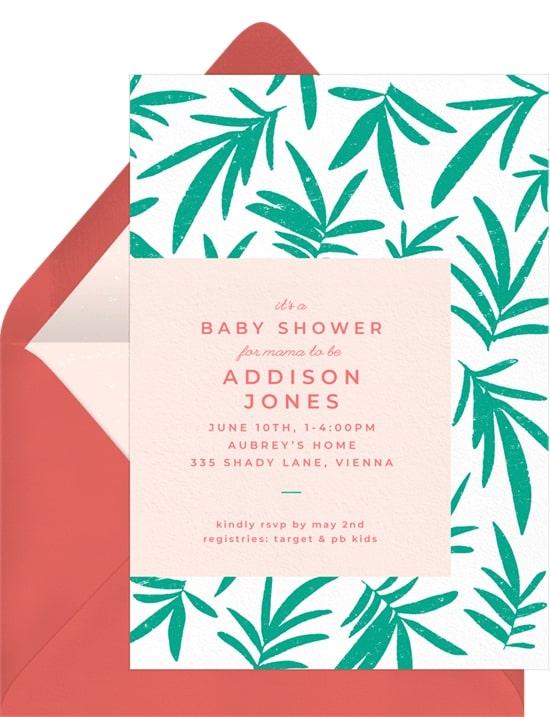 Jungle theme baby shower: Jungle Invitation