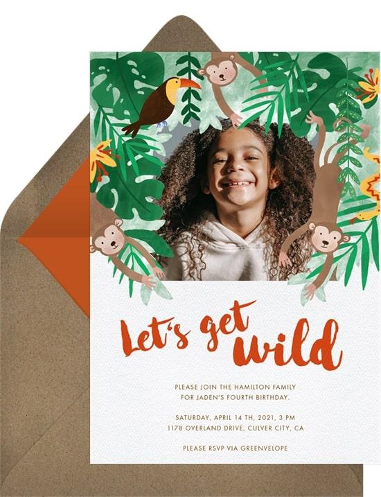 Safari theme party: Jungle Wild Invitation