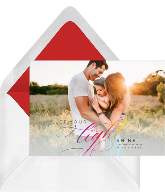 Photo holiday cards: Let Your Light Shine Card