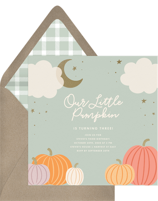 Fall birthday party ideas: Little Pumpkin Invitation
