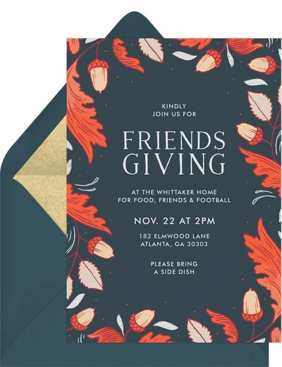 Friendsgiving invitations: Lovely Oak Leaves Invitation
