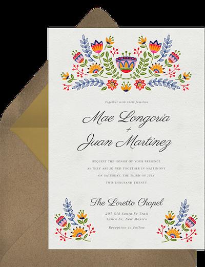 Flores Mexicanas Wedding Invitation
