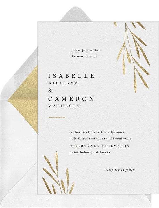 Rustic wedding ideas: Minimalist Leaves Invitation