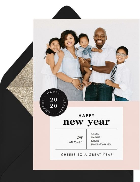 Holiday greetings: New Year's Stamp Card