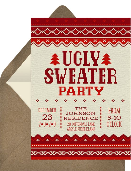 college party themes: Noel Knit Invitation by Greenvelope