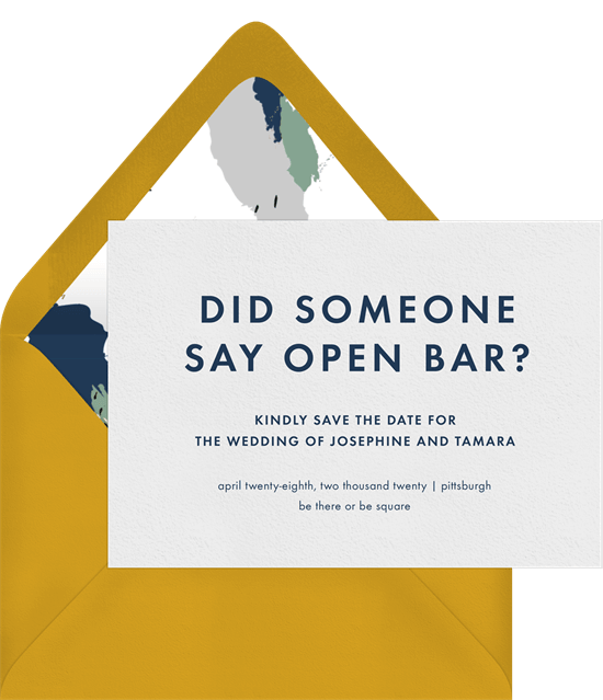 Open Bar Save the Date template