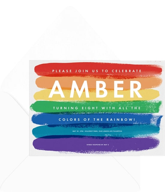 Painted Rainbow Invitation