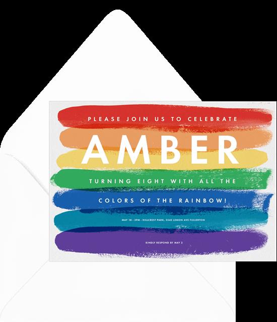 Paint party ideas: Painted Rainbow Invitation