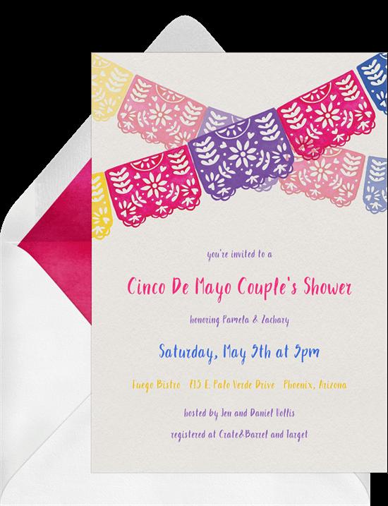 Taco party ideas: Papel Picado Banner Invitation