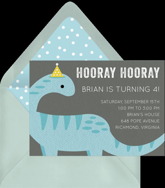 Dinosaur birthday invitations: Party Dino Invitation