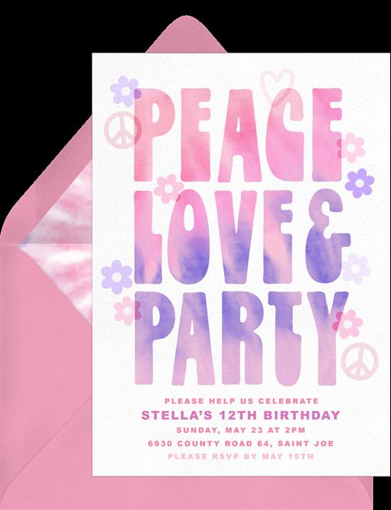 Peace Love & Party Invitation