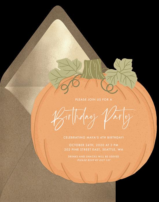 Fall birthday party ideas: Playful Pumpkin invitation