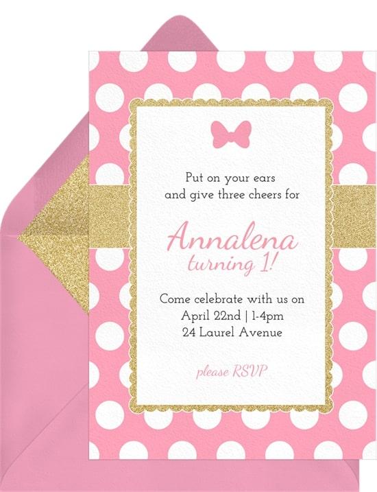 2nd birthday party ideas: Polka Dot Bow Invitation