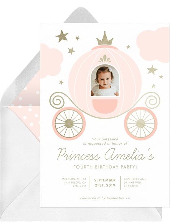 Princess party ideas: Princess Carriage Invitation