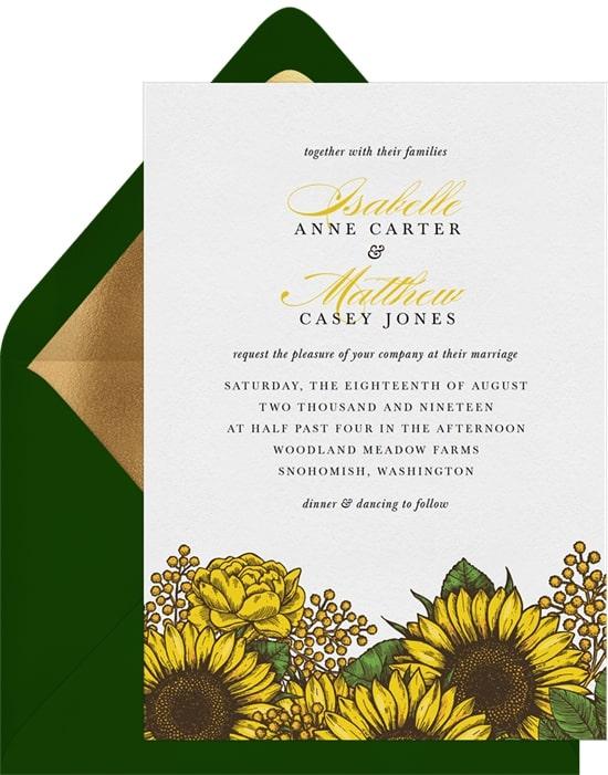 Rustic wedding ideas: Radiant Sunflowers Invitation