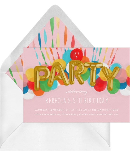 Rainbow birthday party: Rainbow Balloons Invitation