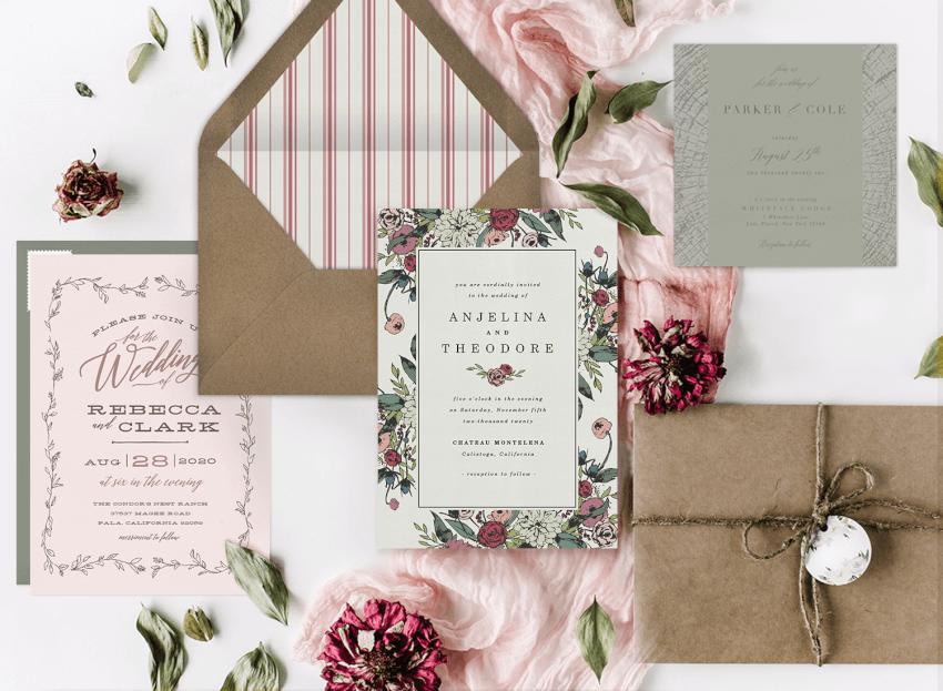 Personalised /& Customised Wedding Invites Rustic Floral Kraft Wedding Extra Details Invitation