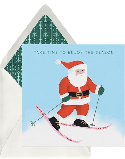 Santa On Skis Card