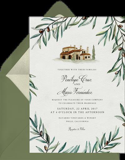 Spanish Vineyard Wedding Invitation