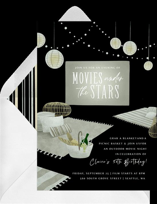 Fall birthday party ideas: Starlight Cinema Invitation