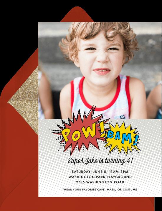 Super Hero Pow Birthday Invitation