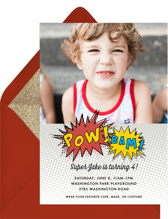 Super Hero Pow Invitation