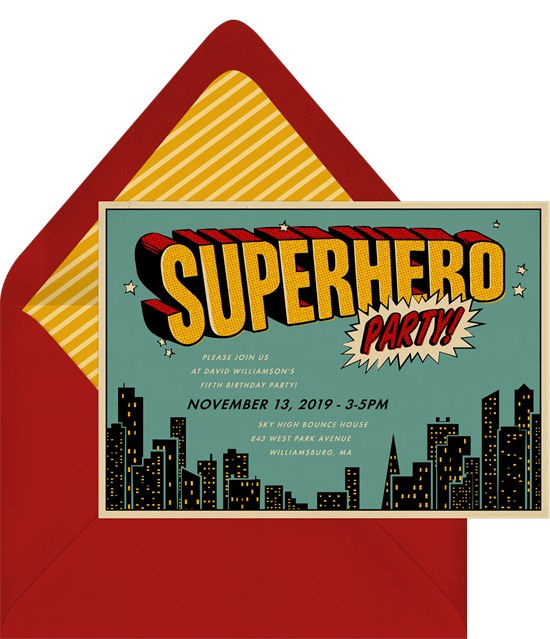 Superhero birthday party: Superhero Party Invitation