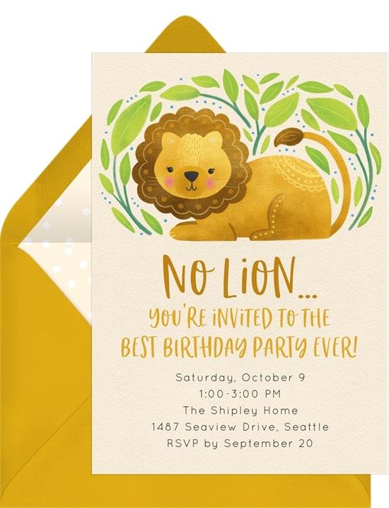Safari theme party: Sweet Lion Invitation