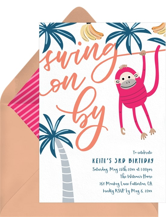 Safari theme party: Swing On By Invitation