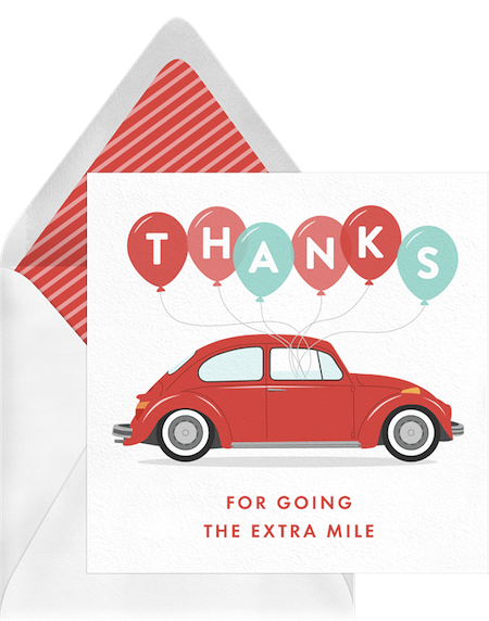 thank you card for teacher: Extra Mile Card by Greenvelope